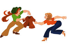 Two cartoon girls fighting over brown jacket Royalty Free Stock Photography