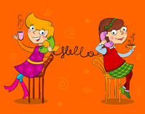 Two cartoon girls talking telephone. And drinking tee and coffee Royalty Free Stock Photography