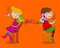 Two cartoon girls talking telephone Royalty Free Stock Photography