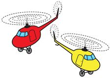 Two cartoon helicopters Royalty Free Stock Images