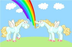 Two cartoon horse with wings and a rainbow Stock Image