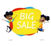 Two cartoon kids jump near banner big sale royalty free illustration