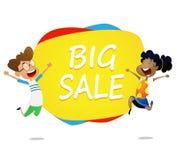 Two cartoon kids jump near banner big sale stock illustration
