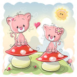 Two cartoon kittens Stock Images