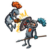 Two cartoon knights fighting. Using swords and spears Stock Photo