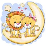 Two Cute Lions is sitting on the moon. Two Cartoon Lions is sitting on the moon Stock Image