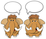 Two cartoon mammoths talk to each other Royalty Free Stock Photo