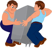 Two cartoon men in blue pants and blue tops holding furniture Stock Images