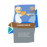 Two cartoon men with present vector illustration. Stock Photography