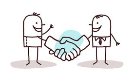 Two cartoon men shaking big hands Royalty Free Stock Image