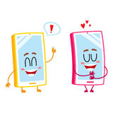 Two cartoon mobile phone characters, showing love, giving thumb up. Two cartoon mobile phone characters, one hugging itself with love, another showing thumb up Stock Photos