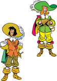 Two cartoon Musketeers Stock Images