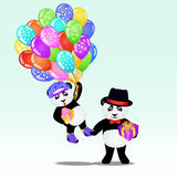 Two cartoon panda bear with birthday balloons and gifts. Birthday background. EPS 10 vector illustration Royalty Free Stock Photo