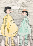 Two cartoon people talking Royalty Free Stock Photos
