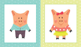 Two cartoon piggies Royalty Free Stock Images