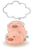 Two cartoon pigs having sex with speech bubble Royalty Free Stock Photo