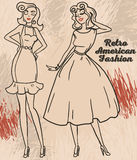 two cartoon pretty women in pin up style Royalty Free Stock Photography