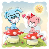 Two cartoon puppies Stock Photos
