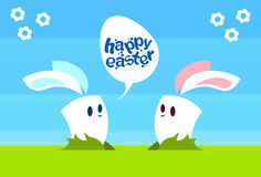 Two Cartoon Rabbit Bunny Communication Chat Bubble Egg Happy Easter Natural Background Holiday Greeting Card Royalty Free Stock Photos