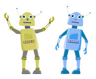 Two cartoon robot Royalty Free Stock Photos