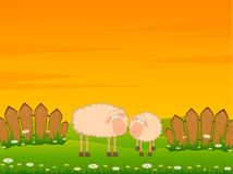 Two cartoon smiling sheep Stock Photo