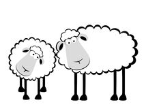 Two cartoon smiling sheep vector illustration