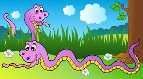 Two cartoon snakes on meadow Stock Image