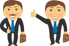 Two cartoon successful businessman Stock Photos