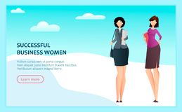 Business women. Two cartoon successful businesswomen. Flat style. Landing page concept. Usable for website, homepage. Vector illustration stock illustration