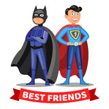 Two cartoon superheroes. Boys in colorful superhero costumes. Stock Images