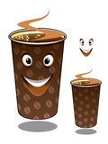 Two cartoon takeaway coffees Stock Photos