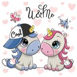 Two Cartoon Unicorns on a hearts background. Two Cute Cartoon Unicorns on a hearts background stock illustration