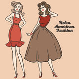 Two cartoon women in retro style. Two cartoon pretty women in pin up style, 50s american dresses, vector illustration Royalty Free Stock Images