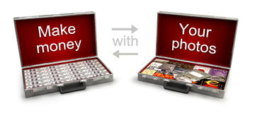 Two cases with money and photos Stock Photography