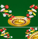 Two casino backgrounds. Wallpapers and banner of casino dices, chips and roulette  on green background Stock Photo