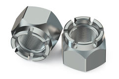 Two castellated nuts Stock Photo