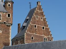 Two castle towers. A close up of the facades and towers of a medieval castle in Beersel, Belgium Royalty Free Stock Photos