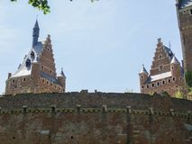Two castle towers. A close up of the facades and towers of a medieval castle in Beersel, Belgium Stock Photography