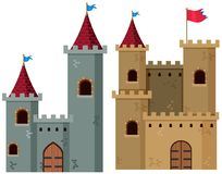 Two castle towers with flags Royalty Free Stock Image