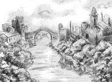 Two castles and bridge landscape. Pencil drawing, sketch Stock Photo