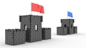 Two castles with the flag competition 2 Stock Image
