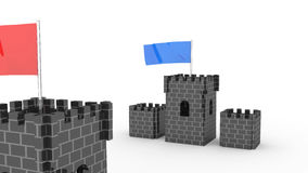 Two castles with the flag competition Royalty Free Stock Photos