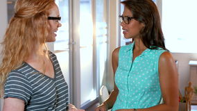Two casual businesswoman speaking together. In office stock footage