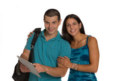 Two Casual Dressed College Student Isolated Royalty Free Stock Photo