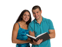 Two Casual Dressed College Student Isolated Stock Photo