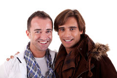 Two casual happy men royalty free stock photos