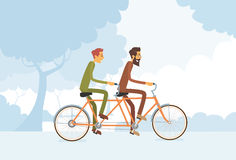 Two Casual Man Riding Tandem Bicycle Stock Image