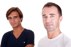 Two casual men. Isolated on white, studio shot Royalty Free Stock Images