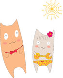 Two cat. It's a sweet summer Royalty Free Stock Photo