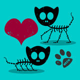Two cat skeletons in love. Two cute cat skeletons in love Stock Images
